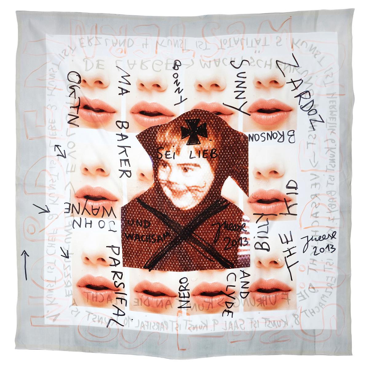 """JONATHAN MEESE_ SAALEVOLUTYR DE BABYHUMPTY- DUMPTY'S ERZSTOFFKUSCHELTUCH """"HERMETIK IM BLUT) (KUSSMUND DER SPOCKOLOGIK) #9 (2013)"""